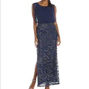AIDAN MATTOX Sequined Bateau Evening Gown